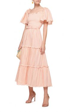 This **Luisa Beccaria** Striped Short Sleeve Midi Dress features a tiered design and a back lace up detail. Women's Fashion Dresses, Boho Fashion, Fashion Design, Winter Fashion, Spring Dresses, Day Dresses, Bohemian Mode, Types Of Dresses, Mode Inspiration