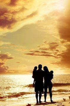 Sunset silhouette family portrait by Shella Bella Studios. http://www.facebook.com/shellabellastudio