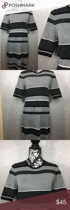 Spotted while shopping on Poshmark: Lou & Grey Striped Gray Knit Colorblock Dress! #poshmark #fashion #shopping #style #Lou & Grey #Dresses & Skirts