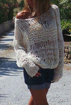 White lightweight oversized grunge loose knit sweater by ileaiye