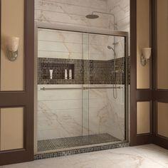 """DreamLine DL-6953C-04CL Duet Frameless Bypass Sliding Shower Door and SlimLine 36"""" by 60"""" Single Threshold Shower Base"""