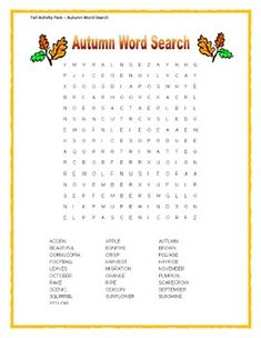 Fall Activity Pack - Autumn Word Search