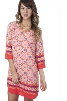 Come Full Circle Print Dress ($34.99) #printdress #dress #print #coral #cutedress #chapterdress #rushdress #casual #sophieandtrey #freeshipping #shop #trend #fashion #musthave #spring #love #cute #chic