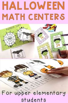 Halloween themed Math center activities for your upper elementary students. Resource includes games, worksheets and activities to work on number skills, addition and subtraction, multiplication and division as well as identifying prime and composite numbers and factors. Your students will love this no prep time-saving resource {homeschool, third, fourth, fifth, halloween math} #halloweenmath #rainbowskycreations Teaching Numbers, Math Numbers, Teaching Math, Teaching Ideas, Primary Maths, Primary Classroom, Halloween Math, Halloween Themes, School Resources