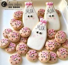 3 Dozen Mini/Bite Size Chocolate Chip PLUS 3 Milk Jug Cookies - Milk and Cookies Baby Shower Decorated Custom