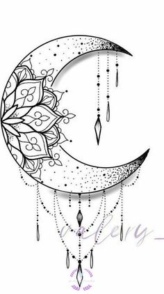 Moon Tattoo Designs, Mandala Tattoo Design, Henna Tattoo Designs, Tattoo Ideas, Lily Tattoo Design, Hamsa Design, Flower Tattoo Designs, Mandala Art Lesson, Mandala Drawing