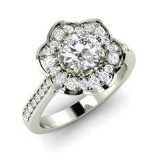 Elita Engagement Ring with Round VS Diamond, SI Diamond   0.78 carat Round VS Diamond  Cocktail Engagement Ring in 14k White Gold   Diamondere