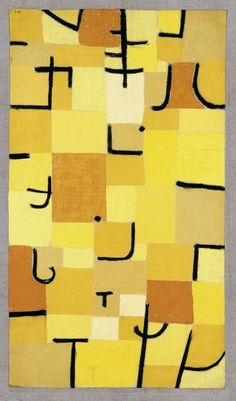 """Realizing Paul Klee's Influence on American Abstraction / Paul Klee, """"Signs in Yellow"""" (1937) pastel on cotton on colored paste on burlap on stretcher; original frame strips, 83.5 × 50.3 cm, Fondation Beyeler, Riehen/Basel, Beyeler Collection, (photo by Robert Bayer)"""