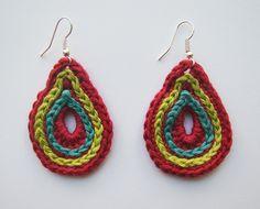 Crochet colorful teardrop shaped handmade cotton earrings OOAK ce0217