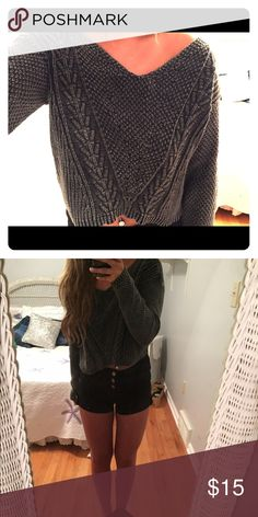 Grey cable knit sweater Cropped, very warm and super cute! Falls a little bit off the shoulder. Only worn once or twice! LA Hearts Sweaters
