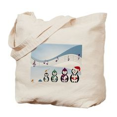 musical notes with penguin and arctic bir Tote Bag on CafePress.com