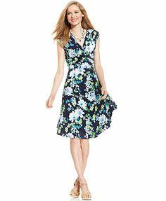 Charter Club Petite Cap-Sleeve Floral-Print A-Line Dress