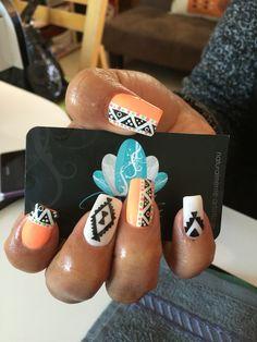 Acrylic Nails, Nails art, tribal Nails