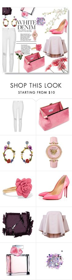 """""""White jeans / Pink top & shoes"""" by pengy-vanou on Polyvore featuring River Island, Les Néréides, Versace, Marc by Marc Jacobs, Christian Louboutin, Surratt, Milly, Ralph Lauren, The Gypsy Shrine and whitejeans"""