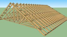 a basic roof truss build. my actually and i added the truss strapping to add some detail to it Roof Design, Plan Design, Roof Shapes, Roof Trusses, Roof Plan, House Plans, Outdoor Blanket, 3d, How To Plan