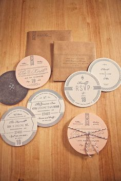 I'm not sure exactly how I feel about an invitation suite made entirely of coasters, but it's a clever idea anyway...  -Designer; Ross Clodfelter