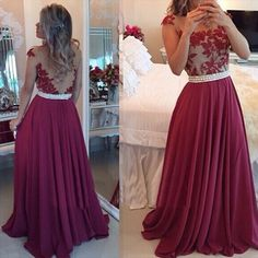 Find a Sexy See Through Chiffon Plus Size Prom Dress Tulle Lace Pearls Dark Red Party Dresses A Line Cheap Burgundy Prom Dresses Online Shop For U !