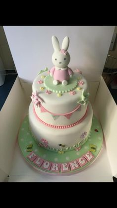 Miffy bunting christening cake                                                                                                                                                     More