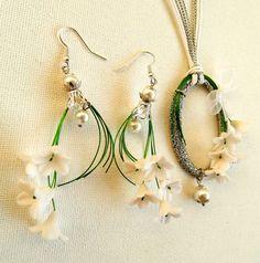 White hoop pendant earrings set  Flower pendant by insoujewelry, $38.00