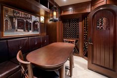 Custom Wine Cellar - Comfortable tasting area in custom wine cellar with ample seating Linneman St. Glenview, Glenview Haus Photo Gallery, Chicago