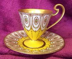 Royal Worcester Vintage Yellow Tea Cup Saucer Teapots And Cups, Teacups, Yellow Tea Cups, Kitchen Yellow, Kettles, Sugar And Spice, Vintage Yellow, Tea Cup Saucer, High Tea