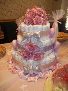 Elegant baby girl diaper cake.
