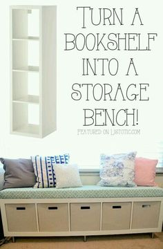 Mueble funcional multiuso: librero, asiento, guardar cajas...