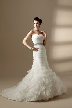 $218.79 Fantastic Trumpet/Mermaid Sweetheart Floor-Length Tiered Wedding Dresses