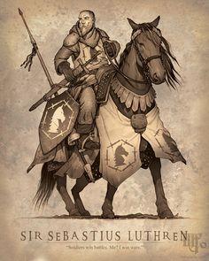 m Fighter Noble Heavy Armor Longsword Lance male Horseback Barding Traveler Castle Sir Sebastius Luthren med Fantasy Character Design, Character Concept, Character Inspiration, Character Art, Concept Art, Fantasy Heroes, Fantasy Rpg, Dark Fantasy, Dnd Characters