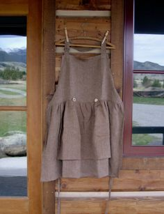 Brown Linen Apron with Antler Buttons Size Large 1820 by CabinLil, $38.00