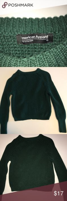 American Apparel Cropped Sweater Pine green cropped American Apparel sweater. 100% combed cotton. In excellent condition...looking for a new closet. American Apparel Sweaters Crew & Scoop Necks