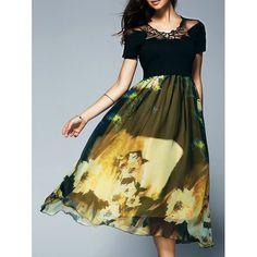Short Sleeve Spliced Self Tie Floral Print Midi Dress — 39.42 € -Size: XL Color: BLACK
