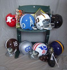 Denver-one of the first AFL teams (helmet-bottom left) Nfl Football Helmets, Arena Football, Football Team Logos, Football Cards, Football Images, Football Stuff, School Football, World Football League, American Football League