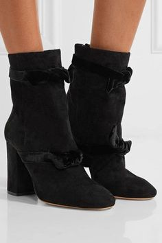 Alexandre Birman - Lorraine Velvet-trimmed Suede Ankle Boots - Black - IT38.5