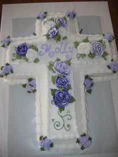 Cross Baptism Cake on Cake Central First Holy Communion Cake, Première Communion, Communion Dresses, Confirmation Cakes, Baptism Cakes, Baptism Cross Cake, Funeral Cake, Cross Cakes, Religious Cakes