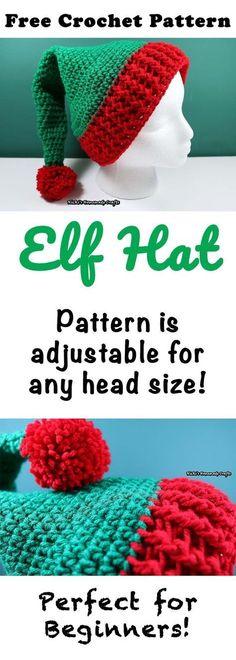 Elf Hat with Pom-pom - Free Crochet Pattern by Nicki's Homemade Crafts
