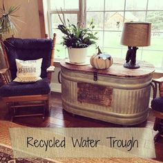 There has been a lot of interest lately in our recyled water trough. {our living room 3 years ago} I first post. There has been a lot of interest lately in our recyled water trough. {our living room 3 years ago} I first post. Rustic Farmhouse, Farmhouse Style, Farmhouse Design, Farmhouse Nashville, Farmhouse Plans, Farmhouse Side Table, Rustic Design, Design Rustique, Style Rustique