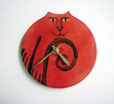 Pottery wall clock: Cat design vibrant red black whimsical handmade