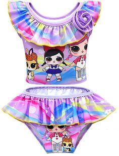 Rohero Toddler Baby Girls Swimsuit Doll Print Bikini Ruffle Swimwear Bathing Suit for Doll Surprised Little Girl Shoes, Little Baby Girl, Baby Girls, Decorating Toddler Girls Room, Baby Doll Furniture, American Girl Doll Room, Barbie Doll Case, Baby Girl Swimsuit, Kids Winter Fashion