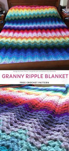 Simply Crochet, Double Crochet, Easy Crochet, Crochet Hooks, Free Crochet, Crochet Rugs, Crochet Ripple, Afghan Crochet Patterns, Baby Blanket Crochet