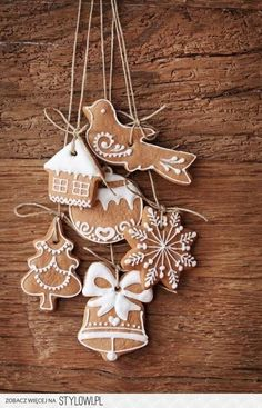 Simple white icing on brown cookies for ornaments