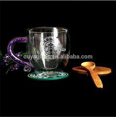 Reutilizável 250 ml de parede dupla de café de vidro de borosilicato copo logotipo livre copo de parede dupla copo de vinho vampiro