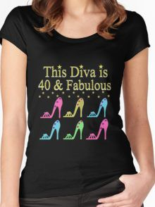 GLAMOROUS  40 AND FABULOUS SHOE QUEEN Women's Fitted Scoop T-Shirt Fabulous 40th birthday T Shirts & Gifts to dazzle your 40 year old Diva. http://www.redbubble.com/people/jlporiginals/collections/396192-40th-birthday #40yearsold #Happy40thbirthday #40thbirthdaygift #40thbirthdayidea  #happy40th
