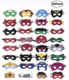 KRUCE 32 Pieces Superhero Masks,Superhero Party Supplies,Superhero Cosplay Masks,Party Favors Half Masks for Children or Boys Aged Superhero Party Bags, Superhero Party Supplies, Superhero Art Projects, Batman Party, Birthday Supplies, Superhero Birthday Party, Projects For Kids, Superhero Classroom, 7th Birthday