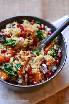 A healthy, delicious and comforting quinoa salad with sweet potato, kale and pomegranate. A winter favorite! Vegan and naturally gluten free   Find the recipe on NotEnoughCinnamon.com