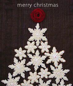 Snowflake Sugar Cookie Christmas Tree {Baker's Royale}...one of the prettiest cookie displays I've seen!