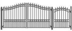 London Style Swing Dual Steel Driveway 12 ft with Pedestrian Gate 4 ft
