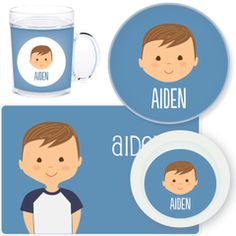 personalized mealtime set | boy face from sarah + abraham (http://www.sarahandabraham.com)