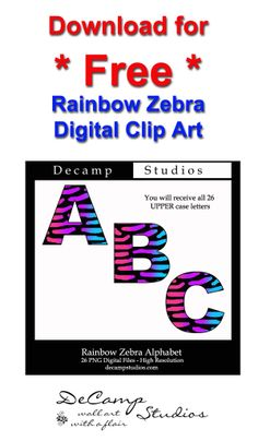 Download for FREE this Rainbow Zebra Digital Printable Clipart. You receive all the uppercase letters A thru Z. Personal use only #decampstudios