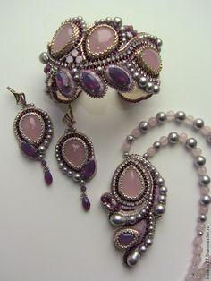 """Купить Комплект украшений с розовым кварцем """"Розовые сны"""" - бледно-розовый, браслет, браслет с камнями"""